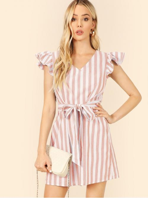 Boho Tunic Striped Loose V neck Sleeveless Natural Pink Short Length Ruffle Trim Striped Belted Dress with Belt