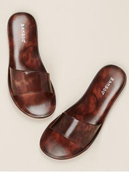Comfort Brown Two Tone Jelly Open Toe Wide Band Slide Sandals