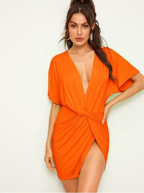 Sexy Fitted Plain Slit Regular Fit Deep V Neck Short Sleeve Batwing Sleeve Natural Orange and Bright Short Length Neon Orange Plunge Neck Twist Dress