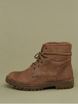 Comfort Combat Boots Almond Toe Plain No zipper Brown Low Heel Chunky Knitted Collar Lace Up Heavy Sole Short Boots