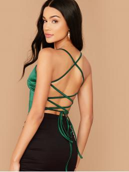 Sexy Cami Plain Slim Fit Spaghetti Strap Green Regular Length Lace Up Backless Satin Cami Top