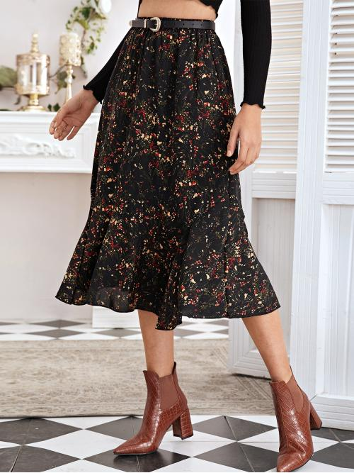 Boho Mermaid Ditsy Floral Mid Waist Black Long/Full Length Ditsy Floral Ruffle Hem Skirt Without Belted with Lining