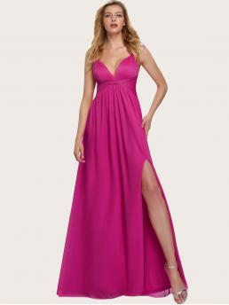 Glamorous Cami Plain Slit Regular Fit Deep V Neck and Spaghetti Strap Sleeveless High Waist Pink Maxi Length EverPretty Twist Front Ruched Bodice High Split Dress with Lining