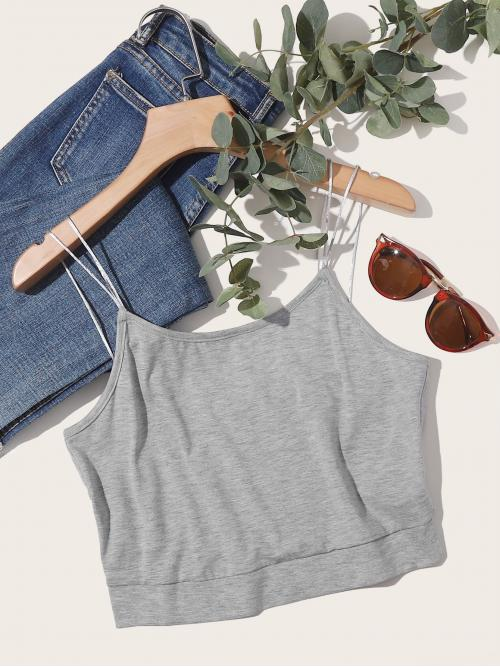 Casual Cami Plain Slim Fit Spaghetti Strap Grey Crop Length Solid Double Straps Cami Top