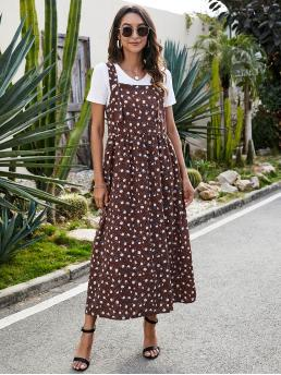 Beautiful Chocolate Brown Ditsy Floral Button Straps Overall Dress