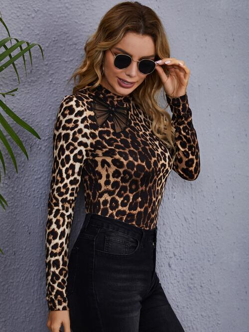 Shopping Long Sleeve Contrast Mesh Polyester Leopard Bow & Fitted Tee