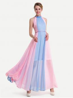Glamorous A Line Colorblock Regular Fit Halter Sleeveless Natural Multicolor Maxi Length Two Tone Frill Trim Keyhole Back Chiffon Dress with Lining