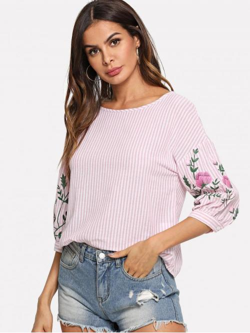 Sale Half Sleeve Top Button Polyester & Striped Top