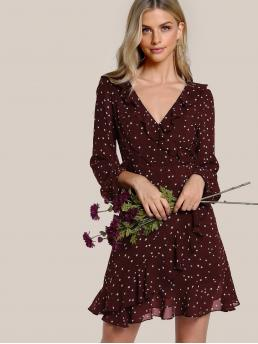 Boho A Line Geometric Wrap Loose V neck Long Sleeve High Waist Burgundy Short Length Surplice Neck Allover Star Print Ruffle Dress