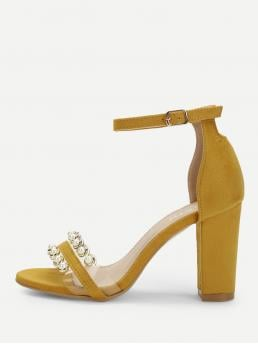 Ankle Strap Open Toe Ankle Strap Ginger High Heel Chunky Faux Pearl Two Part Block Heeled Sandals