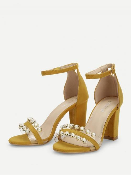 Ladies Corduroy Ginger Court Pumps Pearls Faux Pearl Two Part Block Heeled Sandals