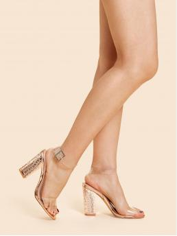Glamorous Open Toe Ankle Strap Gold High Heel Chunky Clear Design Ankle Strap Heels