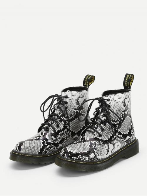 Corduroy Multicolor Combat Boots Studded Snakeskin Lace-up Boots Trending now