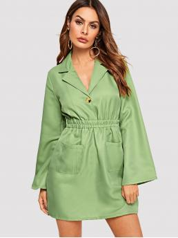 Casual Plain Flared Notched Long Sleeve High Waist Green Short Length Solid Single Button Shirred Waist Dress