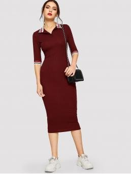 Elegant Bodycon Striped Slim Fit Collar Half Sleeve Regular Sleeve Natural Burgundy Long Length Striped Collar and Cuff Ribbed Knit Dress