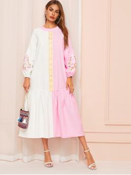 Boho Smock Colorblock Flounce Loose Round Neck Long Sleeve Bishop Sleeve Drop Waist Multicolor Long Length Two Tone Embroidery Lantern Sleeve Dress