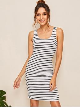 Basics Fitted Striped Pencil Regular Fit Scoop Neck Sleeveless Natural Black and White Short Length Striped Skinny Dress