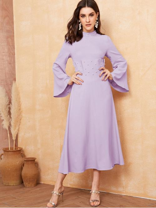 Elegant A Line Plain Flared Regular Fit Stand Collar Long Sleeve Flounce Sleeve High Waist Purple and Pastel Long Length Pearl Beaded Ruffle Trim Bell Sleeve Dress