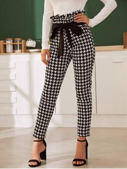 Elegant Houndstooth Skinny Skinny Elastic Waist High Waist Black and White Long Length Houndstooth Paperbag Waist Knotted Pants with Belt