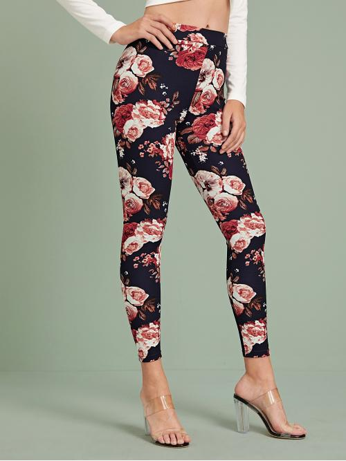 Casual Floral and All Over Print Skinny Skinny Elastic Waist Mid Waist Black Cropped Length Floral Print High Waist Skinny Pants
