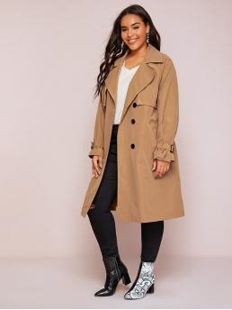 Casual Plain Regular Fit Waterfall Long Sleeve Regular Sleeve Khaki Plus Self Tie Double Breasted Trench Coat with Belt