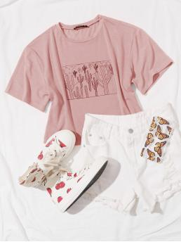 Casual Plants Regular Fit Round Neck Short Sleeve Regular Sleeve Pullovers Dusty Pink Crop Length Round Neck Cactus Print Tee