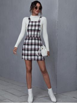 Shopping Multicolor Plaid Backless Straps Overall Dress
