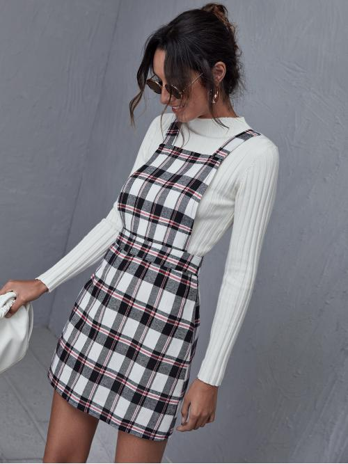 Cheap Multicolor Plaid Backless Straps Overall Dress