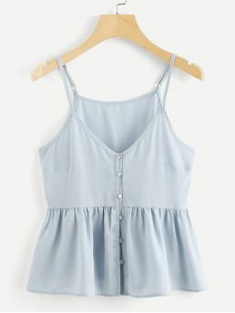 Cute Cami Plain Regular Fit Spaghetti Strap Blue Regular Length Single Breasted Solid Cami Top