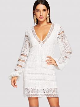 White Plain Fringe Deep V Neck Plunging Neck Tassel Tie Dress Fashion