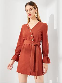 Sale Red Plain Button V Neck up Wrap Bell Sleeve Solid Dress