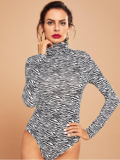Elegant Tee Animal Skinny High Neck Long Sleeve Mid Waist Black and White High Neck Zebra Print Bodysuit
