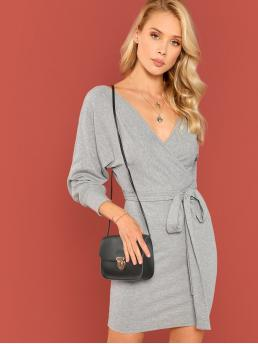 Elegant Plain Slim Fit V neck Long Sleeve Natural Grey Short Length Double V Surplice Dolman Sleeve Marled Dress with Belt