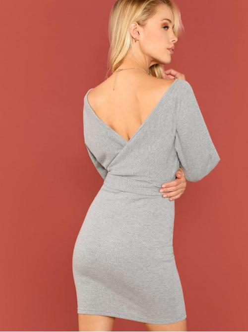 Womens Grey Plain Belted V Neck Double V Surplice Dolman Sleeve Marled Dress