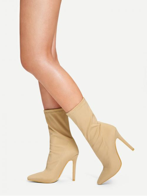Trending now Corduroy Apricot Stretch Boots Buckle Solid
