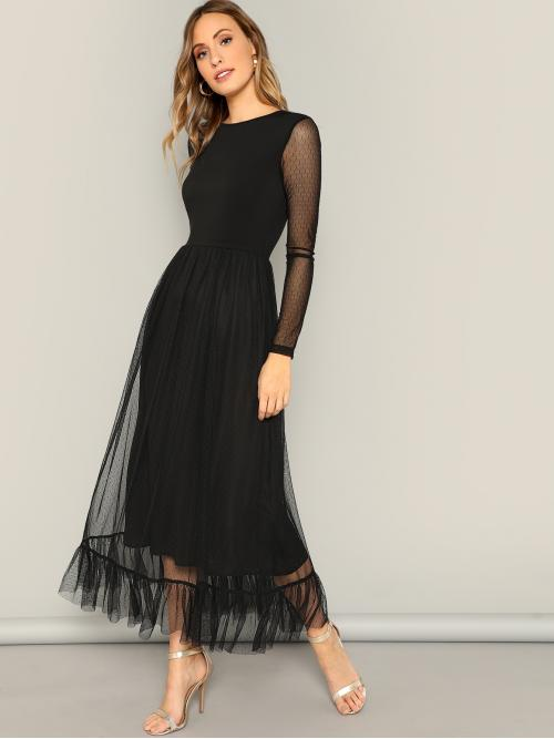 Elegant A Line Plain Regular Fit Round Neck Long Sleeve Regular Sleeve High Waist Black Long Length Fit and Flare Mesh Overlay Ruffle Hem Dress with Lining