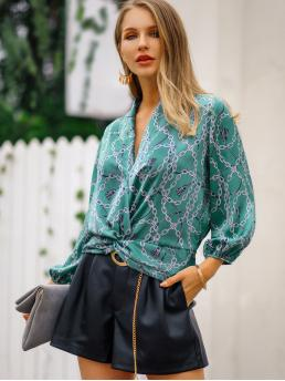 Casual Chain Print and Scarf Print Top Regular Fit V neck Long Sleeve Pullovers Blue Regular Length Twist Hem Chain Print Blouse