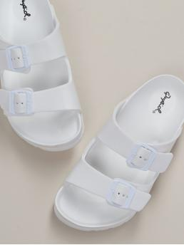 Comfort Open Toe Flatform White Chunky Two Buckle Slide On Comfort Footbed Sandals