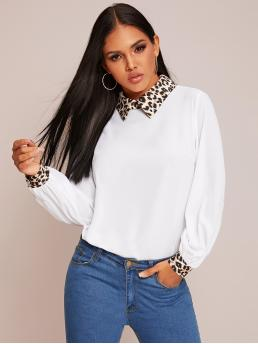 Casual Leopard Top Regular Fit Collar Long Sleeve Pullovers White Regular Length Contrast Leopard Collar & Cuff Top