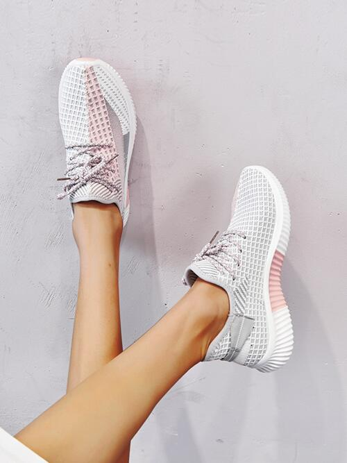 Grey Running Shoes Lace up Low-top Decor Knit Running Shoes Clearance