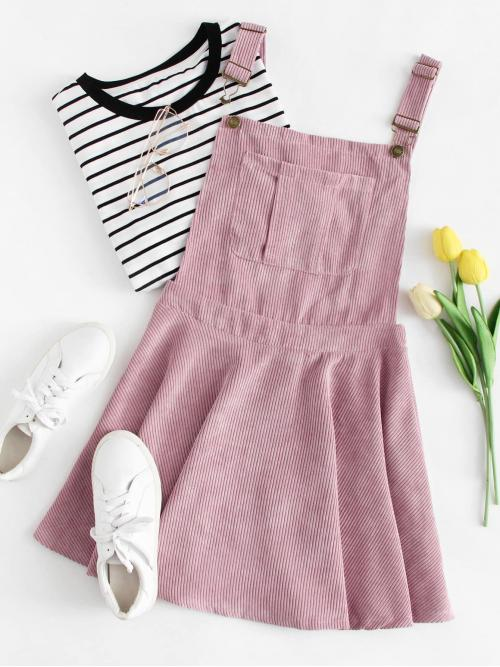 Preppy Pinafore Plain Loose Straps Sleeveless Natural Pink Short Length Pocket Front Zip Up Back Corduroy Overall Dress