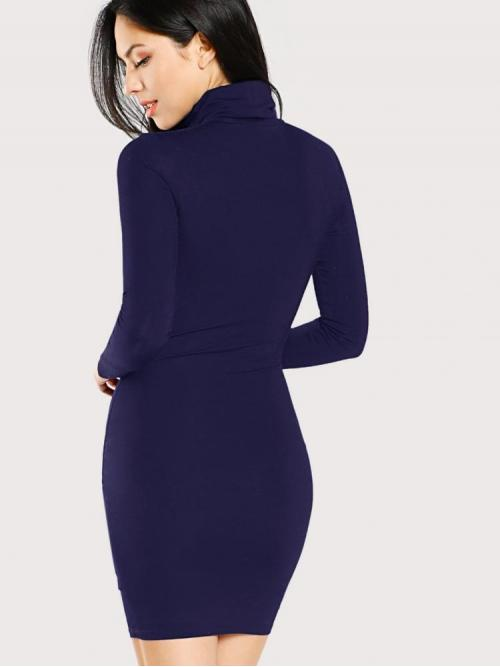 Trending now Navy Blue Plain Belted High Neck Turtle Neck Form Fitting Solid Dress