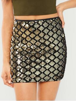 Cheap Gold Natural Waist Zipper Bodycon Sequin Textured