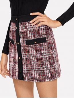 Preppy A Line Plaid and Colorblock Mid Waist Multicolor Above Knee/Short Length Solid Trim Button Up Tweed Skirt