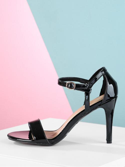 Clearance Corduroy Black Court Pumps Glitter Patent Mid Heeled Sandals