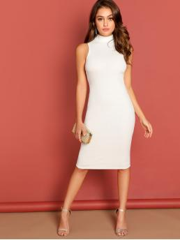 Beautiful White Plain Rib-knit Stand Collar Mock-neck Rib Knit Pencil Dress