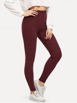 Ladies Burgundy Natural Waist Drawstring Regular High Waist Solid Skinny Leggings