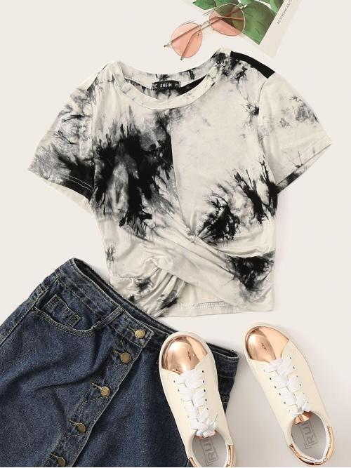 Sexy Tie Dye Slim Fit Round Neck Short Sleeve Pullovers Black and White Crop Length Ink Print Wrap Cross Crop Tee