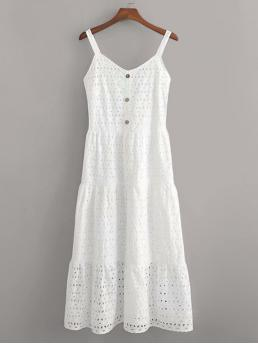 Boho Cami Plain Regular Fit Spaghetti Strap Sleeveless High Waist White Long Length Eyelet Embroidery Button Front Cami Dress