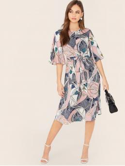 Elegant A Line Colorblock and Chain Print Flared Regular Fit Round Neck Half Sleeve Flounce Sleeve High Waist Multicolor Midi Length Self Belted Chain Print Dress with Belt